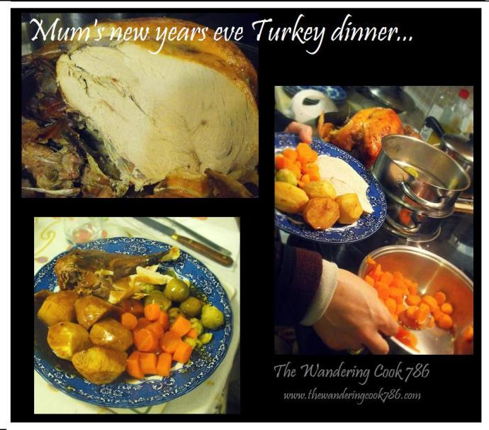 My mother's New Years eve dinner with roast Turkey, potatoes, veg and gravy. Yum yum!!